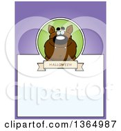 Clipart Of A Halloween Werewolf Page Design With Text Space On Purple Royalty Free Vector Illustration by Cory Thoman
