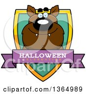 Clipart Of A Halloween Werewolf Halloween Celebration Shield Royalty Free Vector Illustration by Cory Thoman