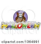 Clipart Of A Werewolf Over Halloween Text Royalty Free Vector Illustration by Cory Thoman