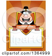 Clipart Of A Chubby Thanksgiving Pilgrim Man Shield Over A Blank Sign And Rays Royalty Free Vector Illustration