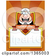 Clipart Of A Chubby Thanksgiving Pilgrim Woman Shield Over A Blank Sign And Rays Royalty Free Vector Illustration