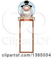 Clipart Of A Grinning Male Thanksgiving Pilgrim Bookmark Royalty Free Vector Illustration
