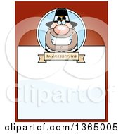 Clipart Of A Grinning Male Thanksgiving Pilgrim Page Design With Text Space On Red Royalty Free Vector Illustration