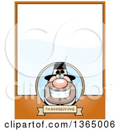 Clipart Of A Grinning Male Thanksgiving Pilgrim Page Design With Text Space On Orange Royalty Free Vector Illustration