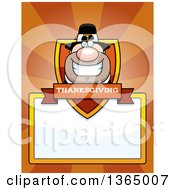 Clipart Of A Grinning Male Thanksgiving Pilgrim Shield Over A Blank Sign And Rays Royalty Free Vector Illustration