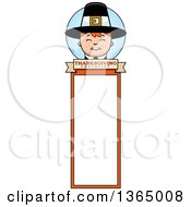 Clipart Of A Happy Thanksgiving Pilgrim Boy Bookmark Royalty Free Vector Illustration