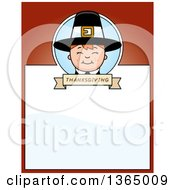 Clipart Of A Happy Thanksgiving Pilgrim Boy Page Design With Text Space On Red Royalty Free Vector Illustration