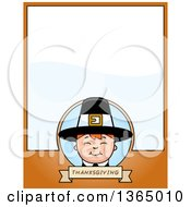 Clipart Of A Happy Thanksgiving Pilgrim Boy Page Design With Text Space On Orange Royalty Free Vector Illustration