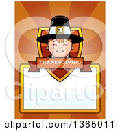 Clipart Of A Happy Thanksgiving Pilgrim Boy Shield Over A Blank Sign And Rays Royalty Free Vector Illustration