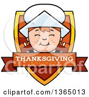Clipart Of A Happy Thanksgiving Pilgrim Girl Thanksgiving Holiday Shield Royalty Free Vector Illustration