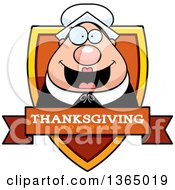 Clipart Of A Chubby Thanksgiving Pilgrim Woman Thanksgiving Holiday Shield Royalty Free Vector Illustration