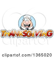 Clipart Of A Chubby Pilgrim Woman Over Thanksgiving Text Royalty Free Vector Illustration
