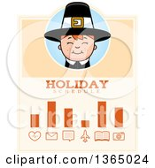 Clipart Of A Happy Thanksgiving Pilgrim Boy Holiday Schedule Design Royalty Free Vector Illustration
