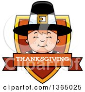 Clipart Of A Happy Thanksgiving Pilgrim Boy Thanksgiving Holiday Shield Royalty Free Vector Illustration