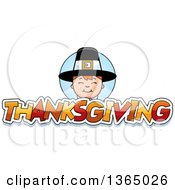 Clipart Of A Happy Pilgrim Boy Over Thanksgiving Text Royalty Free Vector Illustration