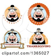 Clipart Of Chubby Thanksgiving Pilgrim Man Badges Royalty Free Vector Illustration