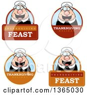 Clipart Of Chubby Thanksgiving Pilgrim Woman Badges Royalty Free Vector Illustration