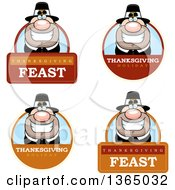 Clipart Of Grinning Male Thanksgiving Pilgrim Badges Royalty Free Vector Illustration