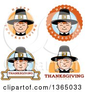 Clipart Of Happy Thanksgiving Pilgrim Boy Badges Royalty Free Vector Illustration
