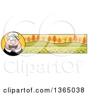 Clipart Of A Chubby Thanksgiving Pilgrim Woman Banner Or Border Royalty Free Vector Illustration