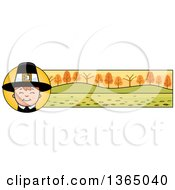 Clipart Of A Happy Thanksgiving Pilgrim Boy Banner Or Border Royalty Free Vector Illustration by Cory Thoman