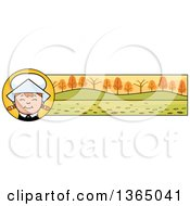 Clipart Of A Happy Thanksgiving Pilgrim Girl Banner Or Border Royalty Free Vector Illustration by Cory Thoman