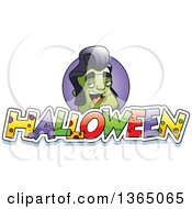 Clipart Of A Frankenstein Singer Over Halloween Text Royalty Free Vector Illustration by Cory Thoman