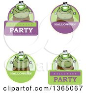 Clipart Of Halloween Frankenstein Badges Royalty Free Vector Illustration by Cory Thoman
