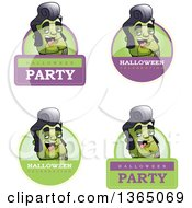 Clipart Of Halloween Frankenstein Singer Badges Royalty Free Vector Illustration by Cory Thoman