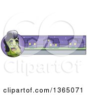 Clipart Of A Halloween Frankenstein Singer Banner Or Border Royalty Free Vector Illustration