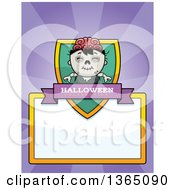 Halloween Zombie Boy Shield Over A Blank Sign And Rays