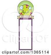 Clipart Of A Green Spotted Halloween Monster Bookmark Royalty Free Vector Illustration