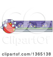 Clipart Of A Red Spotted Halloween Monster Banner Or Border Royalty Free Vector Illustration