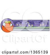 Clipart Of A Green And Orange Halloween Monster Banner Or Border Royalty Free Vector Illustration