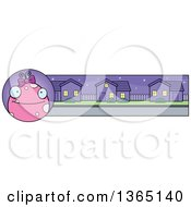 Clipart Of A Pink Girly Halloween Monster Banner Or Border Royalty Free Vector Illustration