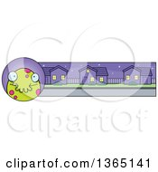 Clipart Of A Green Spotted Halloween Monster Banner Or Border Royalty Free Vector Illustration