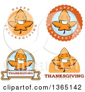 Clipart Of Fall Autumn Leaf Character Badges Royalty Free Vector Illustration