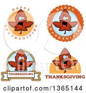 Clipart Of Red Fall Autumn Leaf Character Badges Royalty Free Vector Illustration