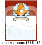 Clipart Of A Fall Autumn Leaf Character Page Design With Text Space On Red Royalty Free Vector Illustration