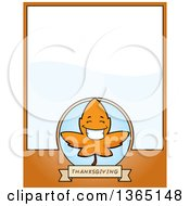 Clipart Of A Fall Autumn Leaf Character Page Design With Text Space On Orange Royalty Free Vector Illustration by Cory Thoman