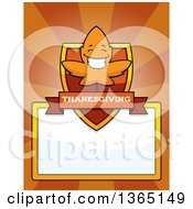 Clipart Of A Fall Autumn Leaf Character Shield Over A Blank Sign And Rays Royalty Free Vector Illustration by Cory Thoman