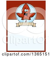 Clipart Of A Red Fall Autumn Leaf Character Page Design With Text Space On Red Royalty Free Vector Illustration
