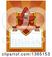 Clipart Of A Red Fall Autumn Leaf Character Shield Over A Blank Sign And Rays Royalty Free Vector Illustration
