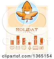 Clipart Of A Fall Autumn Leaf Character Holiday Schedule Design Royalty Free Vector Illustration