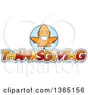 Clipart Of A Fall Autumn Leaf Character Over Thanksgiving Text Royalty Free Vector Illustration
