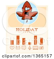 Clipart Of A Red Fall Autumn Leaf Character Holiday Schedule Design Royalty Free Vector Illustration by Cory Thoman