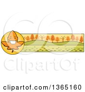 Clipart Of A Fall Autumn Leaf Character Thanksgiving Banner Or Border Royalty Free Vector Illustration