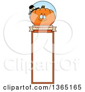 Clipart Of A Thanksgiving Pumpkin Character Bookmark Royalty Free Vector Illustration