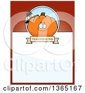 Clipart Of A Thanksgiving Pumpkin Character Page Design With Text Space On Red Royalty Free Vector Illustration
