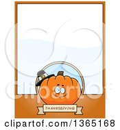 Clipart Of A Thanksgiving Pumpkin Character Page Design With Text Space On Orange Royalty Free Vector Illustration